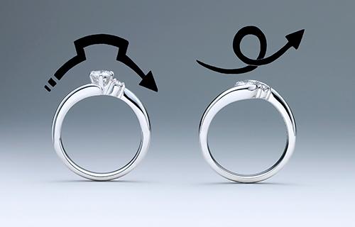 引っかかりのないデザインの指輪
